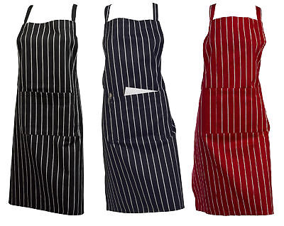 Professional Catering Butchers Bib Apron 100% Cotton Woven Stripe with Pocket