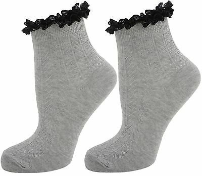 Ladies/Women Frilly Lace Top Ankle Liners Socks Grey - SK187