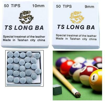 Set-Of 50pcs Leather Pool Snooker Table Cue Tips 9/10mm Super Pro Medium Tip