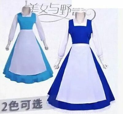 Adult Beauty and the Beast Belle Lolita Blue Maid Dress Cosplay Costume 2 color