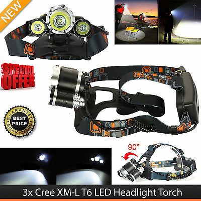 6000LM T6 3x XM-L LED Headlamp Head Torch Rechargeable Outdoor Headlight - UK