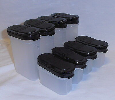 NEW TUPPERWARE 8 PIECE SPICE SET 2 colours chilli OR blackRRP $70