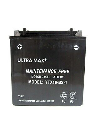 Genuine Ultra Max YTX16-BS-1, 12V 14AH 200 CCA Motorbike Motorcycle Battery