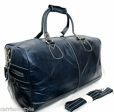 Navy Blue Mens Large Holdall Genuine Leather, Sports, Weekend Travel Duffle  Bag