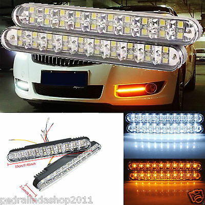 Pdr*coppia Luci Auto 30Led Smd 5050/3528 Fanale Daytime Diurne Bianca Gialla 12V