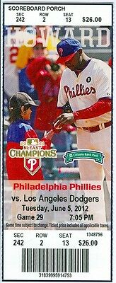 2012 Phillies vs Dodgers Ticket: Elian Herrera hit two-run double off Cliff Lee