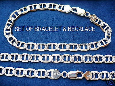 """Details about  /18/""""MEN 925 STERLING SILVER 8MM ICY DIAMOND PUFFED MARINER LINK NECKLACE*N18"""