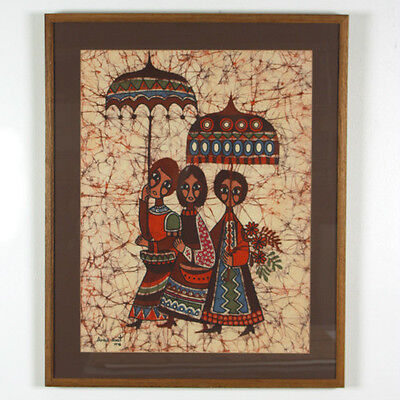 "Batik Print (Women w/ Umbrellas) by Amos Amit Signed 1978 Framed 31""x25"""