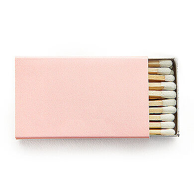 50 Plain Matchboxes with Matches in Blush Pink Wooden Matches