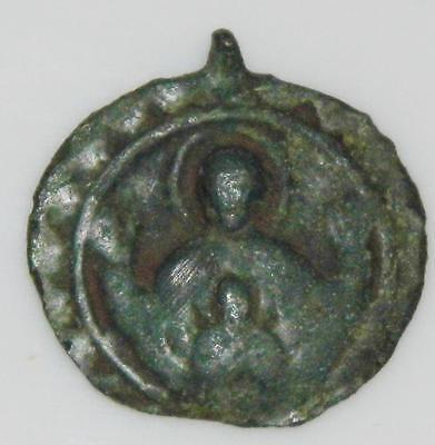 Rare Early Medieval God The Father Christ Son HOLY MEDAL Pilgrims Badge Pendant