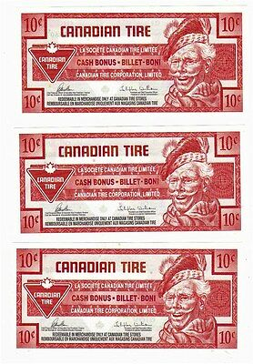 2013 10c CTC CANADIAN TIRE MONEY NOTE coupon 0424700607, 0424700608, 0424700609