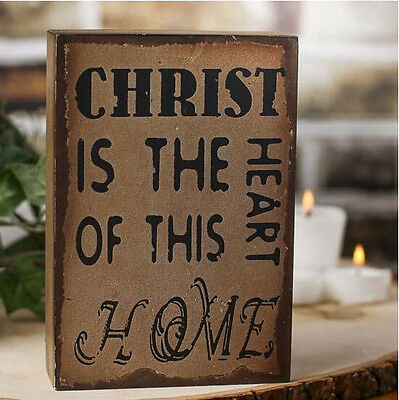 """Christ is the Heart of This Home"" Rustic Wooden Sign 6"" x 4"" x 1.5"""