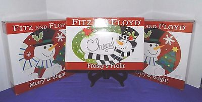 Nib Set Of 3 Fitz & Floyd Canape Plate 1 Frosty Frolic & 2 Merry & Bright Cheers