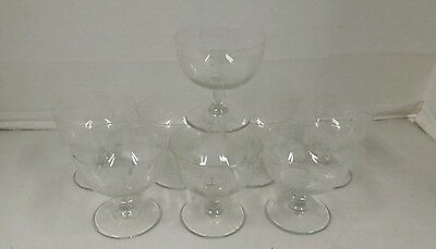 Fostoria Sorbet Cups Etched Glass Grape Pattern: Set of 7