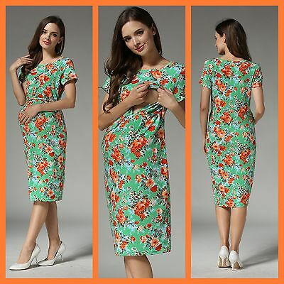 Sale!! Bnwt Green Maternity Breastfeeding Nursing Dress Size S M L 8 10 12 14