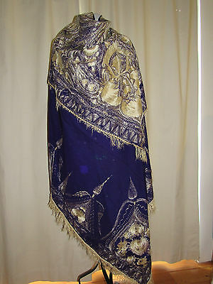 Beautiful Large Antique Fringed Embroidered Purple Wool and Cream Silk Shawl