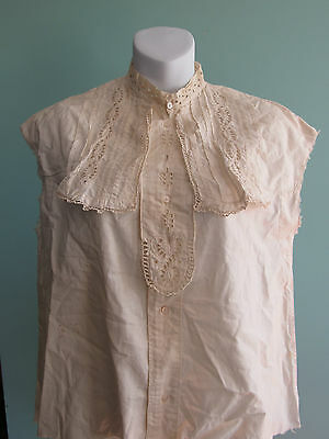 Victorian Edwardian Antique Cotton Cutwork Pleated Blouse Top
