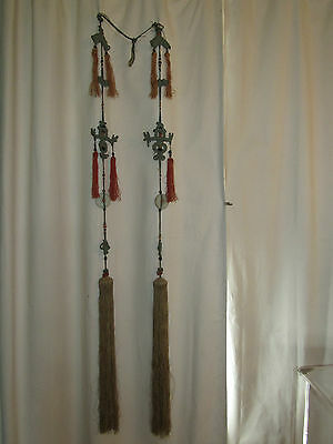 Antique Asian Chinese Pair VERY Long Tassels Linen Glass Knotwork