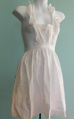 Vintage Victorian / Edwardian Bibbed White Cotton Apron with eyelet ruffles