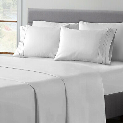 6 Piece Egyptian Comfort 1800 Thread Count Deep Pocket Bed Sheet Set - 12 Colors