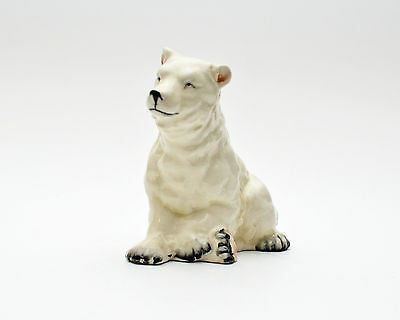 Vintage White Polar Bear Porcelain Figurine Hand Decorated
