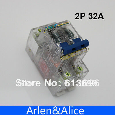 2P 32A Transparent case Mini Circuit breaker MCB DP