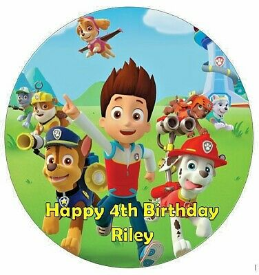 Personalised 19cm Paw Patrol Edible Wafer Paper Cake Topper