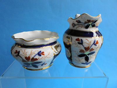 ANTIQUE ENGLISH IMARI PORCELAIN JUG AND BOWL c1880
