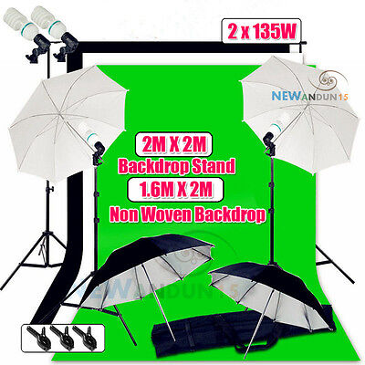 New Photo Umbrella Video Light Lighting Stand Kit 3 PCS Photo Backdrop Stand Kit