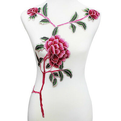 Long Flower Patches Embroidery Applique Floral Sew on Clothing Dress Design