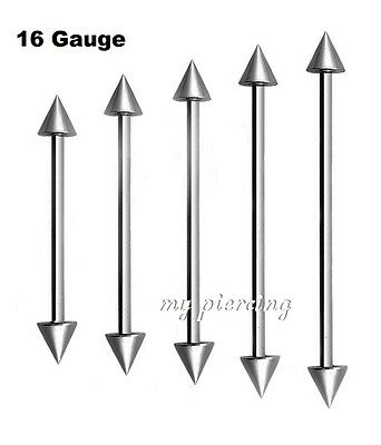 "1pc. 16G~1"" to 2"" with 4x4mm spikes 316L Surgical Steel Industrial Long Barbell"