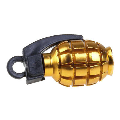 2pcs Bicycle Metal Grenade Shaped Tyre Valve Dust Cap Cover - Golden BF