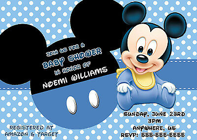 Baby Mickey Mouse Shower Invitations Print Your Own Baby Mickey Digital Invite