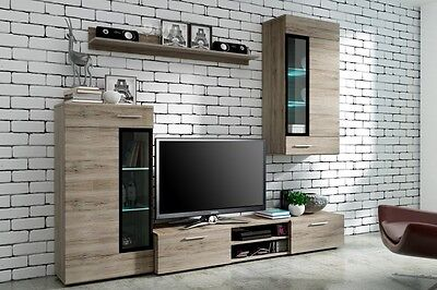 Modern Wall Unit Living Room Furniture Tv Display Unit Cupboard With Free Led