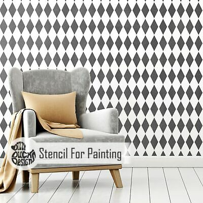HARLEQUIN Diamond Stencil - Furniture Wall Floor Stencil for Painting