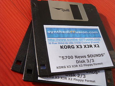 KORG x3 X3R N 264 N364 lot 5700 Sounds on 3 Floppy Disk DD 720 Ko