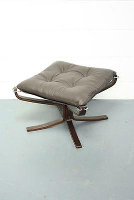 Danish Brown Leather Falcon Chair Ottoman Sigurd Resell Ressell #1683