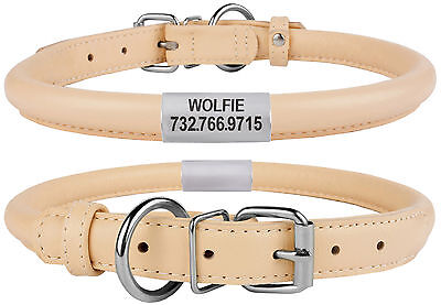 Personalized Dog Collar Rolled Leather Collars for Dogs Puppy Cat S M L XL Beige