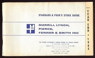1965 Standard & Poor's (S&P) Stock Guide for Merrill Lynch with Broker Stamp