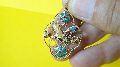 Antique Vtg Chinese Gold Plated Silver Filigree & Enamel Butterfly Pendant