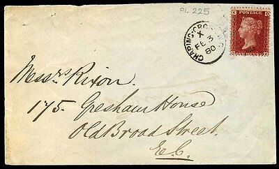 1880 SG43 1d Rose PLATE 225 (QK) Scarcest Plate on Cover