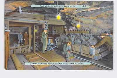 Vintage Postcard Pennsylvania Coal Mining In Anthracite Region Loaded Cars Being