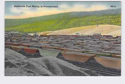 Vintage Postcard Pennsylvania Anthracite Coal Mining Cars On Tracks