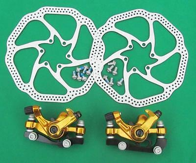 Mechanical Disc Brake MTB Bike  Front Rear GOLD COLOUR Calipers, 160mm Rotors