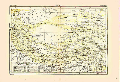 1896 Color Map of GREATER TIBET - Great Detail - Mt Everest