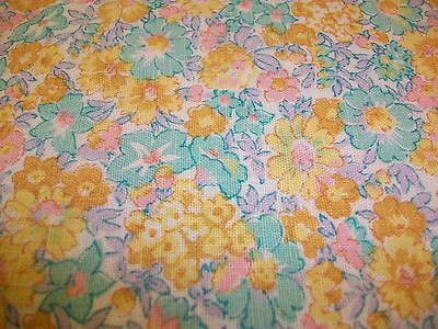 Green, Yellow & Pink Flowers All Over Woven Cotton Fabric