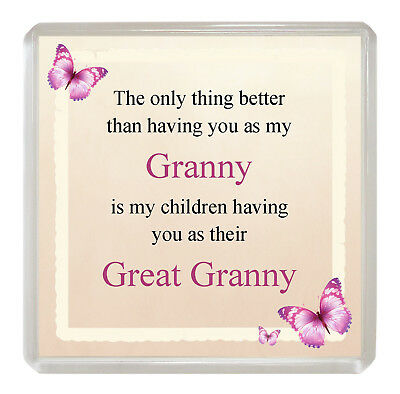 GRANNY/GREAT GRANNY Sentimental FRIDGE MAGNET 'The Only Thing Better' Fun Gift