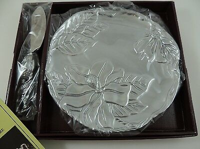 NEW Arthur Court Magnolia Plate with Cheese Server Set in Box 04-648