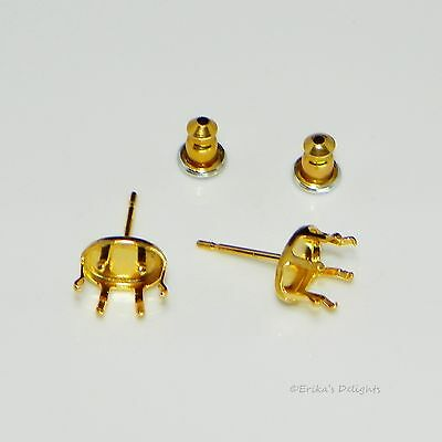 Oval 14KT Gold Plated Sterling Silver Snap Tite Earring Settings (6 Prong)