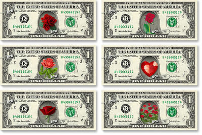 Valentine's Flowers & Hearts on REAL DOLLAR BILL - Cash Money Gift Idea Roses